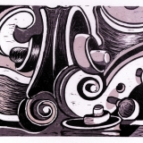 Fiddle Horn -reduction woodcut
