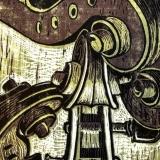 Fiddler's Jig - reduction woodcut