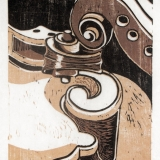 Fiddle with Mandolin -reduction woodcut