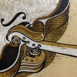 Longneck Scrolls - reduction woodcut