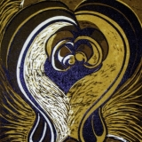 Two Together -reduction woodcut