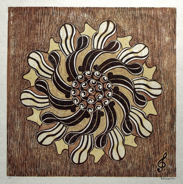 Fiddling Around -reduction woodcut