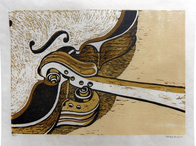 Longneck Scrolls - reduction woodcut