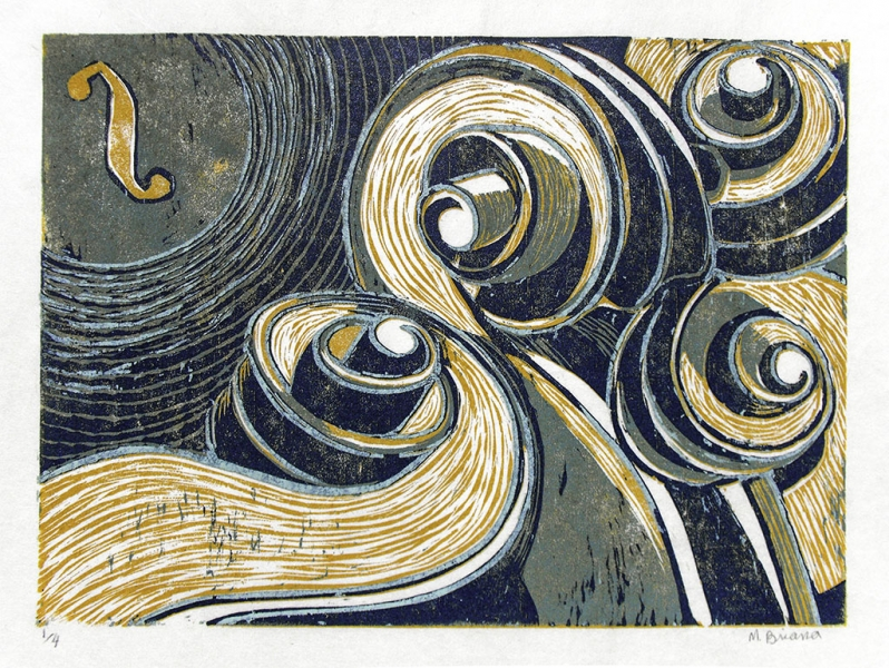 Musical Moonlight - reduction woodcut