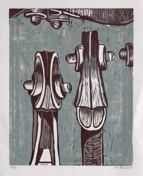 Red Fiddle heads -reduction woodcut